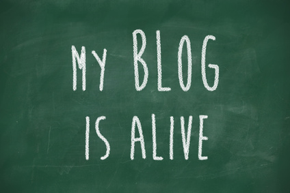 my blog is alive phrase handwritten on school blackboard